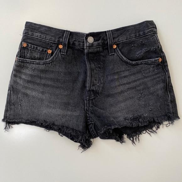 Levi's black cutoff denim shorts.